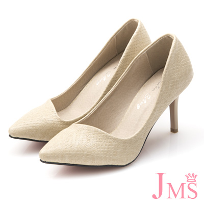 JMS-通勤族必備四季款蛇紋高跟鞋-杏色