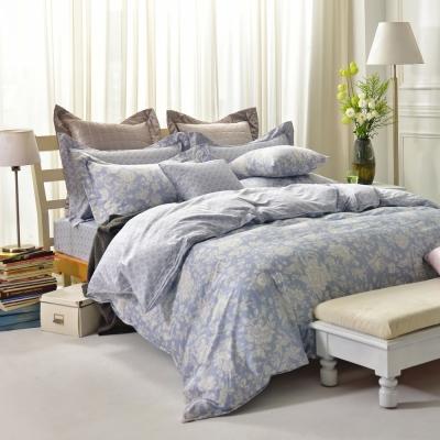 IN HOUSE-Begonia(blue)-300織精梳棉-四件式薄被床包組(加大)