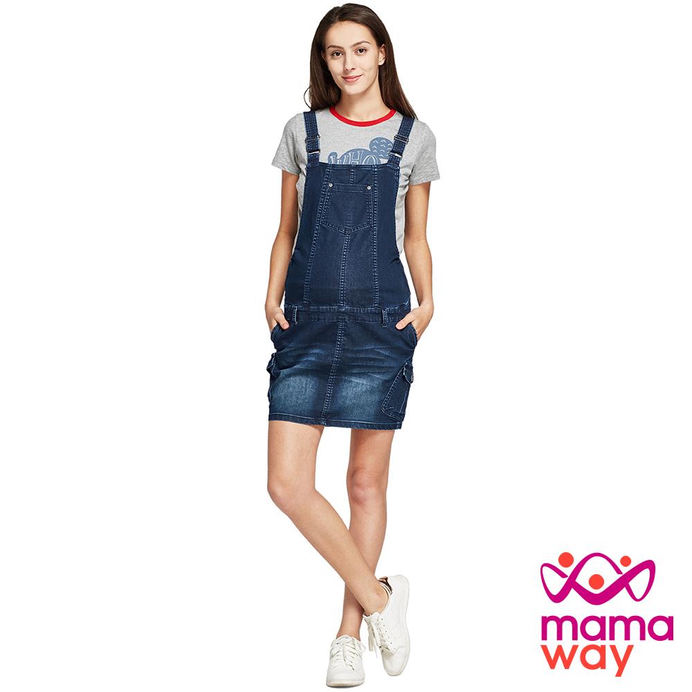 孕婦裙 吊帶裙 孕期牛仔吊帶裙(共二色) Mamaway product image 1