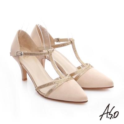 A.S.O 經典晚宴 緞布水鑽T字高跟鞋 金色