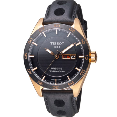 TISSOT PRS 516 Small Second 機械腕錶-黑x玫瑰金/42mm