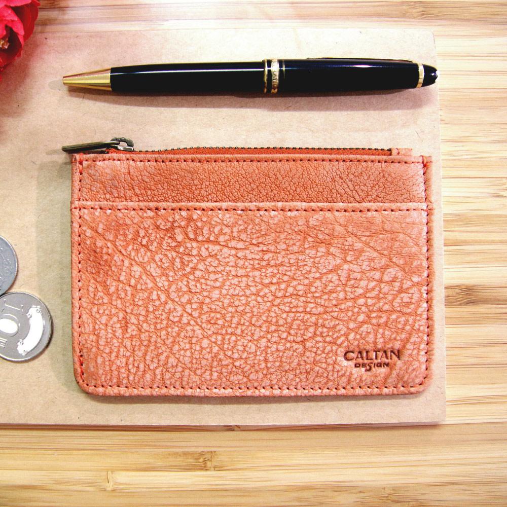 CALTAN-女用真皮 零錢包 鑰匙零錢包 皮夾 小物 皮包 拉鍊式-2113-爆裂橘