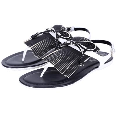 TOD'S 拼色流蘇夾腳平底涼鞋(深藍x白)