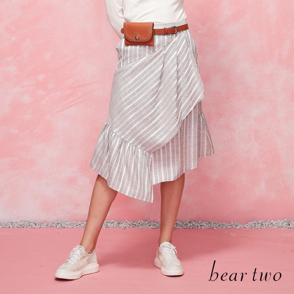 beartwo 條紋造型斜口魚尾裙(灰色)