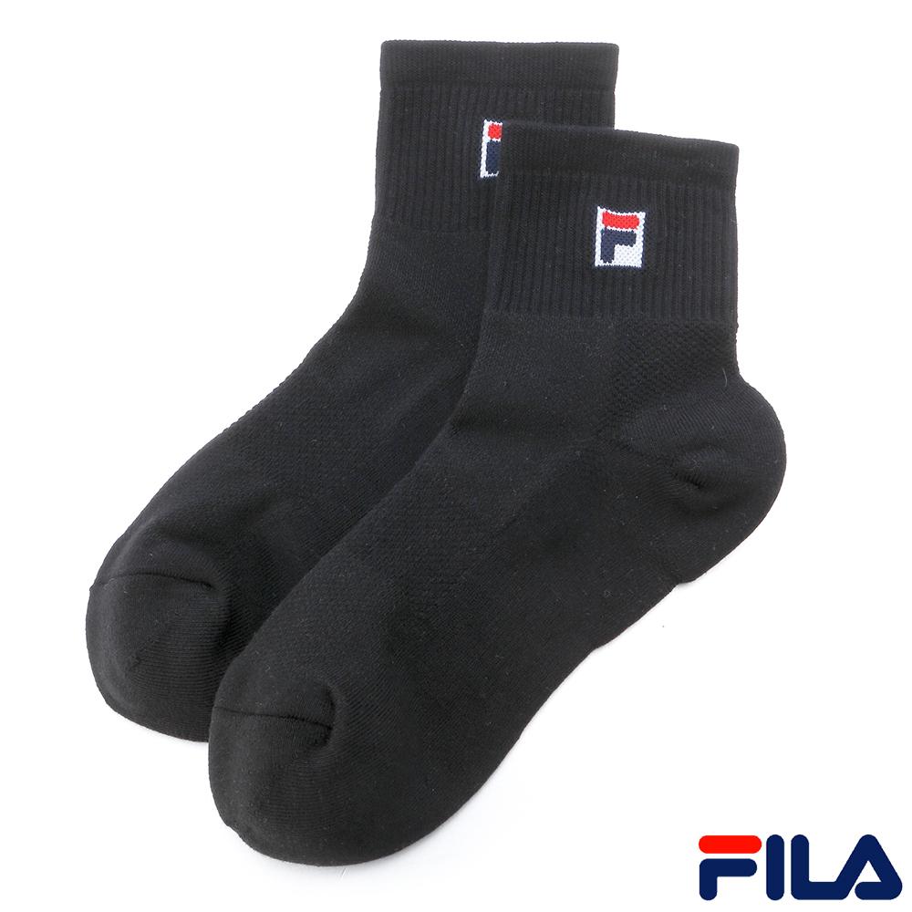 FILA基本款棉質半毛巾短筒襪-黑SCR-1001-BK