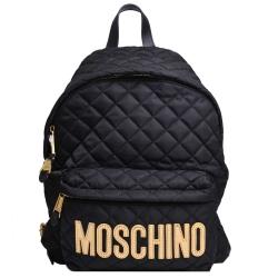 Moschino 品牌金色字母LOGO圖騰尼龍菱格紋後背包(大/黑)