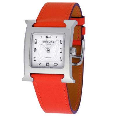 HERMES 愛馬仕 H-OUR 中型機械腕錶-白x耀眼橘紅/26mm