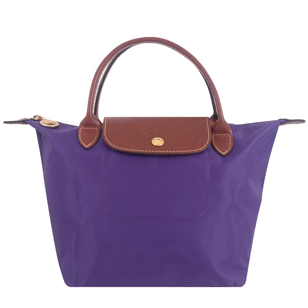 Longchamp短帶折疊水餃包(藍紫色/小)LONGCHAMP
