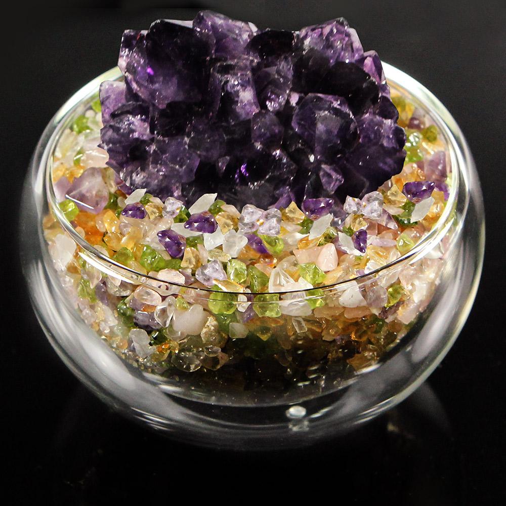 A1寶石  日本頂級天然紫水晶花/五行水晶聚寶盆-招財轉運居家風水必備(含開光加持)