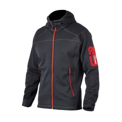 【Berghaus貝豪斯】男款彈性刷毛保暖連帽外套H22MS4-灰