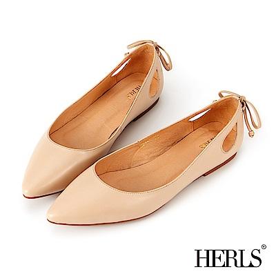 HERLS 優雅好感 全真皮蝴蝶結鏤空尖頭平底鞋-杏色