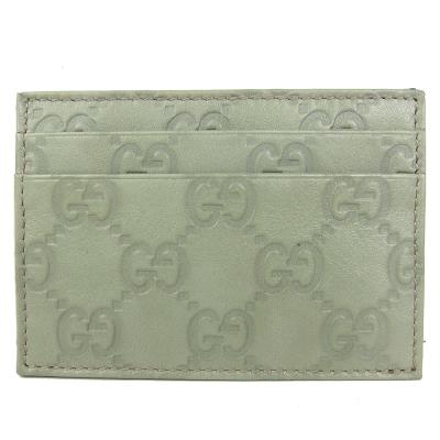 GUCCI Guccissima 雙層皮革名片夾(粉綠)