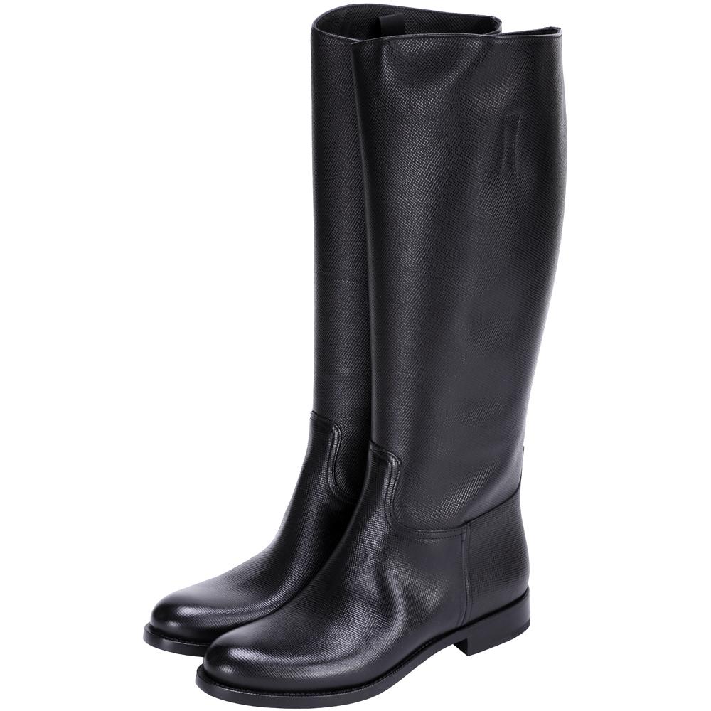 PRADA 防刮小牛皮長靴(黑色)