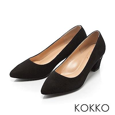 KOKKO - 都會時尚羊麂皮粗高跟鞋-經典黑