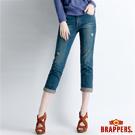 BRAPPERS 女款 Boy Friend Jeans系列—女用3D八分反摺褲-藍
