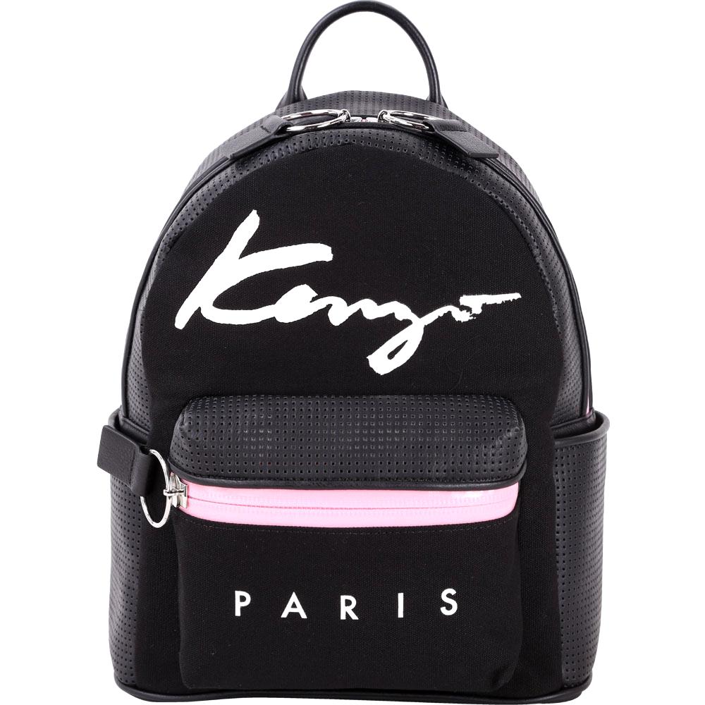 KENZO Signature草寫字母雙材質拼接後背包小黑色