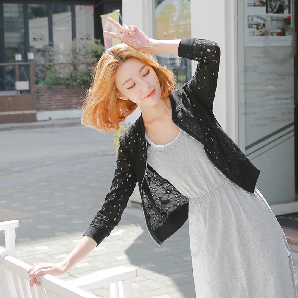 素色蕾絲花鏤空羅紋領外套-OB大尺碼