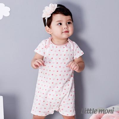 Little moni 純棉家居系列印花連身裝 熱情粉