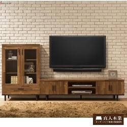 日本直人木業工業生活6尺電視櫃(180x40x46cm)+展示櫃(80x40x122cm)