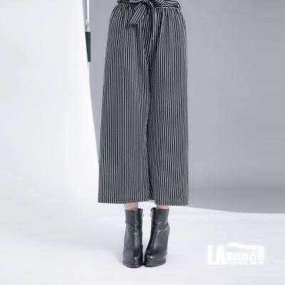 古著 黑白細直條紋花形綁帶鬆緊腰寬管九分褲