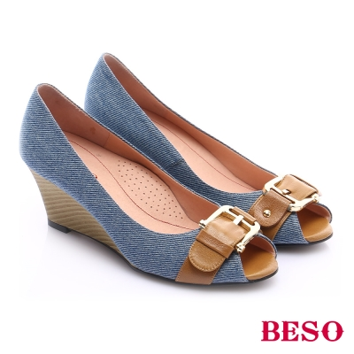 BESO-極簡風格-皮帶牛仔風魚口楔型跟鞋-淺藍