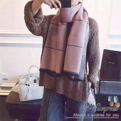 A-Surpriz-氣質雙面格紋加長厚圍巾-粉灰