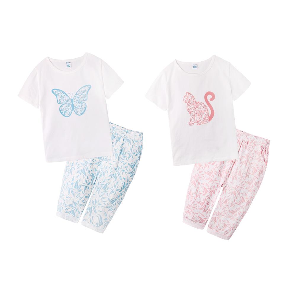 baby童衣 兒童套裝 女童蝴蝶印花超彈性居家睡衣 60103