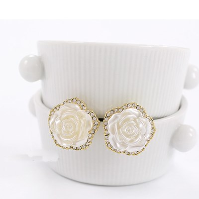梨花HaNA-玫瑰印象浮雕設計氣質夾式耳環