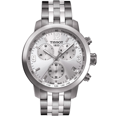 TISSOT PRC200 霸氣時尚三眼計時腕錶-銀/42mm