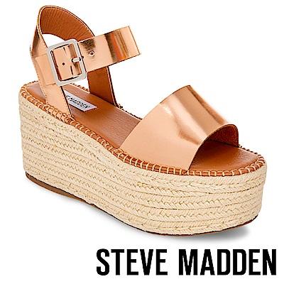 STEVE MADDEN-CABO-真皮一字寬版草編厚底鞋-玫瑰金