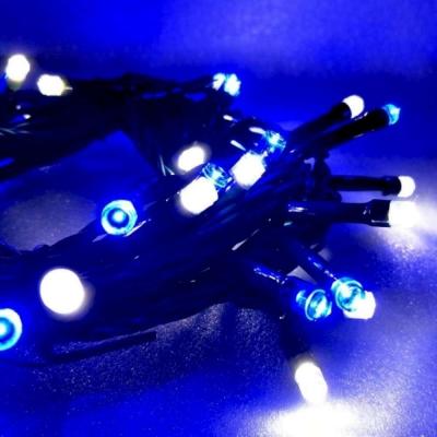 50燈LED燈串聖誕燈(藍白光綠線插電式)(附控制器)(高亮度又省電)