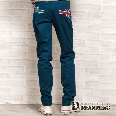 Dreamming 英國旗幟印花修身棉質休閒長褲-共二色