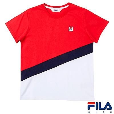 FILA KIDS #東京企劃 剪接圓領T恤-亮紅1TES-4454-RD