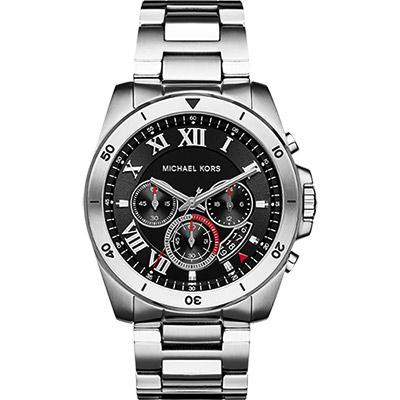 Michael Kors 雅爵羅馬計時錶-黑x銀/45mm