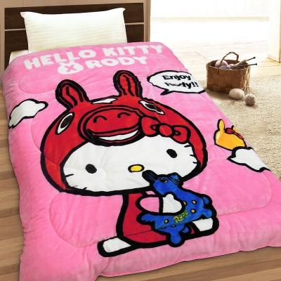 HELLO KITTY & RODY 幸福時光 法蘭絨毯被(粉)