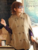 斗蓬式棉質外套