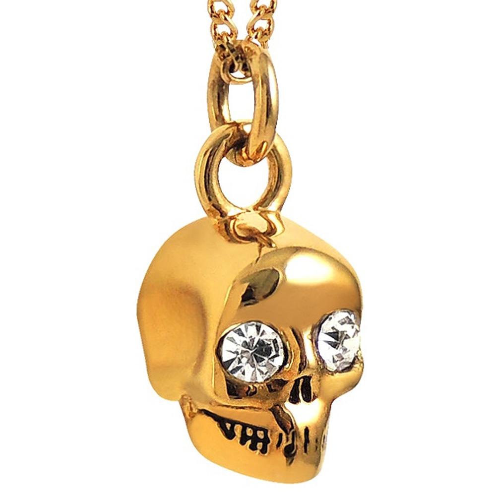 JUICY COUTURE 金色骷髏頭墜飾晶鑽項鍊
