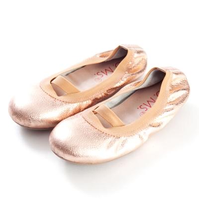 G.Ms.童鞋-金屬羊皮鬆緊口可攜式娃娃鞋(附鞋袋)-玫瑰金