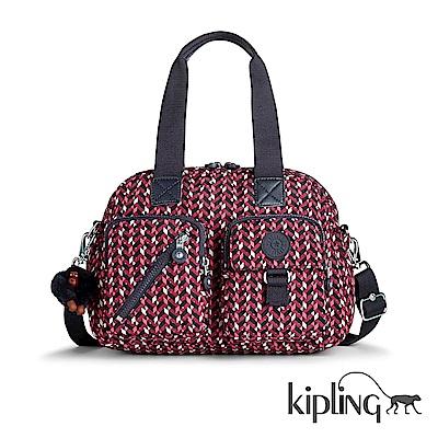 Kipling 手提包 磚紅幾何印花-大