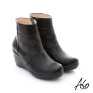 A.S.O 紓壓氣墊 真皮鏤空花紋奈米楔型鞋 黑色