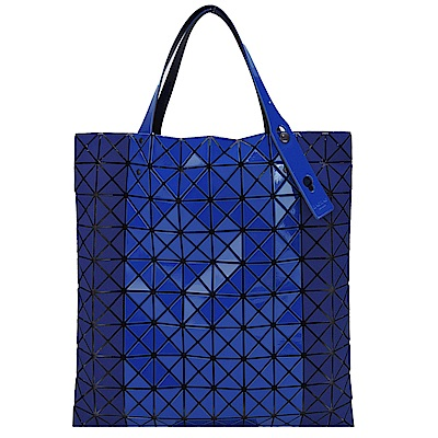 ISSEY MIYAKE三宅一生BAOBAO幾何10x10亮霧面雙質感拼色手提包(藍)