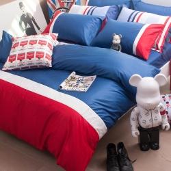 OLIVIA  英式素色簡約風 英國藍 白 紅 加大雙人床包枕套三件組