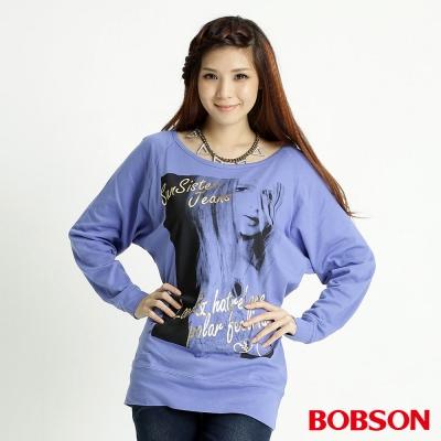 BOBSON 女款人像連袖上衣(藍紫59)