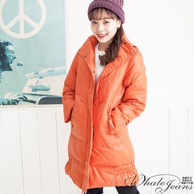 WHALEJEANS寒冬素面保暖連帽防風羽絨大衣-2色