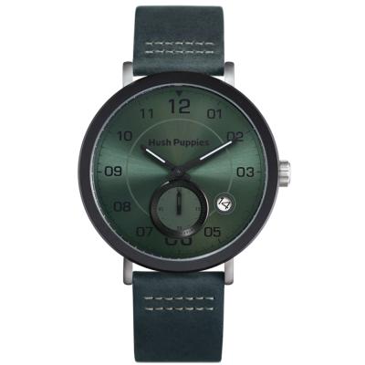 Hush Puppies典藏紳士雙環腕錶-墨綠/44mm