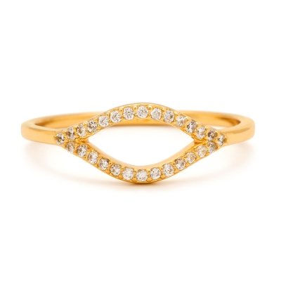 Gorjana 馬眼 鑲細緻白鑽 金色戒指 鍍18K金