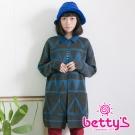 betty's貝蒂思 牛仔領幾何圖紋長版開襟毛料大衣(深灰)