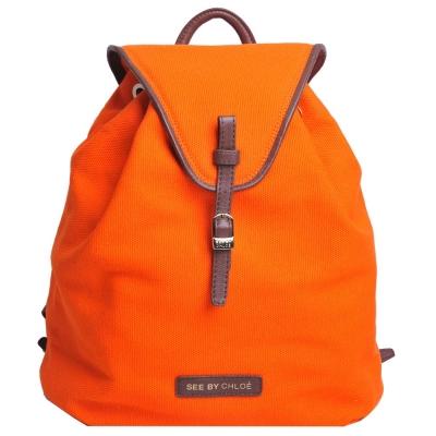 SEE BY CHLOE LILIAS 品牌皮標LOGO帆布後背包(橘色)