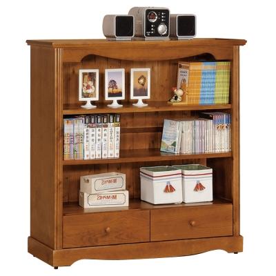 品家居 4x4尺實木多功能開放收納書櫃