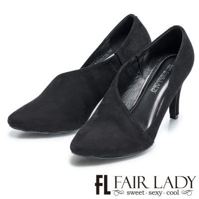 Fair Lady 摩登剪裁流線尖頭高跟鞋 黑